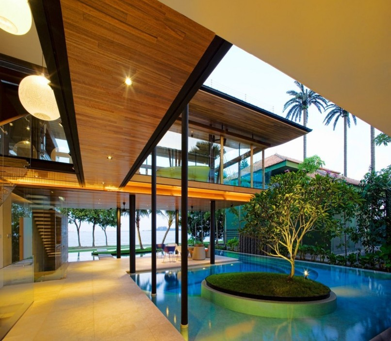 Residencia de arquitectura tropical en Sentosa, Singapur - guzarchitects